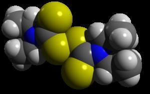 English: Space-filling model of disulfiram