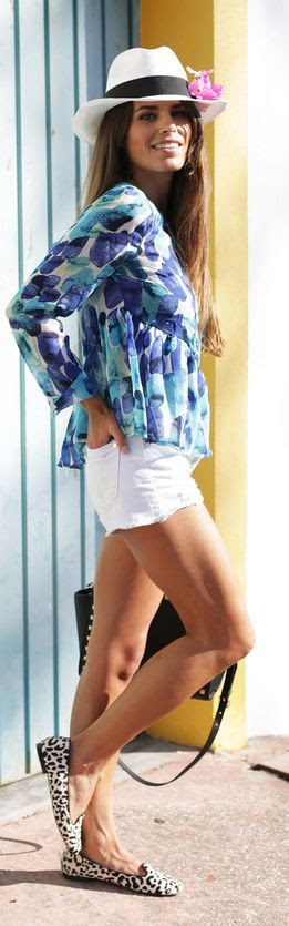 Sheinside Blue And White Long Sleeve Graphic Print Ruffle Hem Blouse by Seams For a Desire