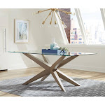 Artesia Glass Top Dining Table Grey Oak