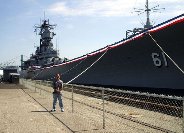 Posing in front of the USS Iowa in San Pedro, California, on August 7, 2012.