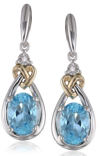 Love Knot Sterling Silver and 14k Yellow Gold Blue Topaz with Diamond-Accent Earrings