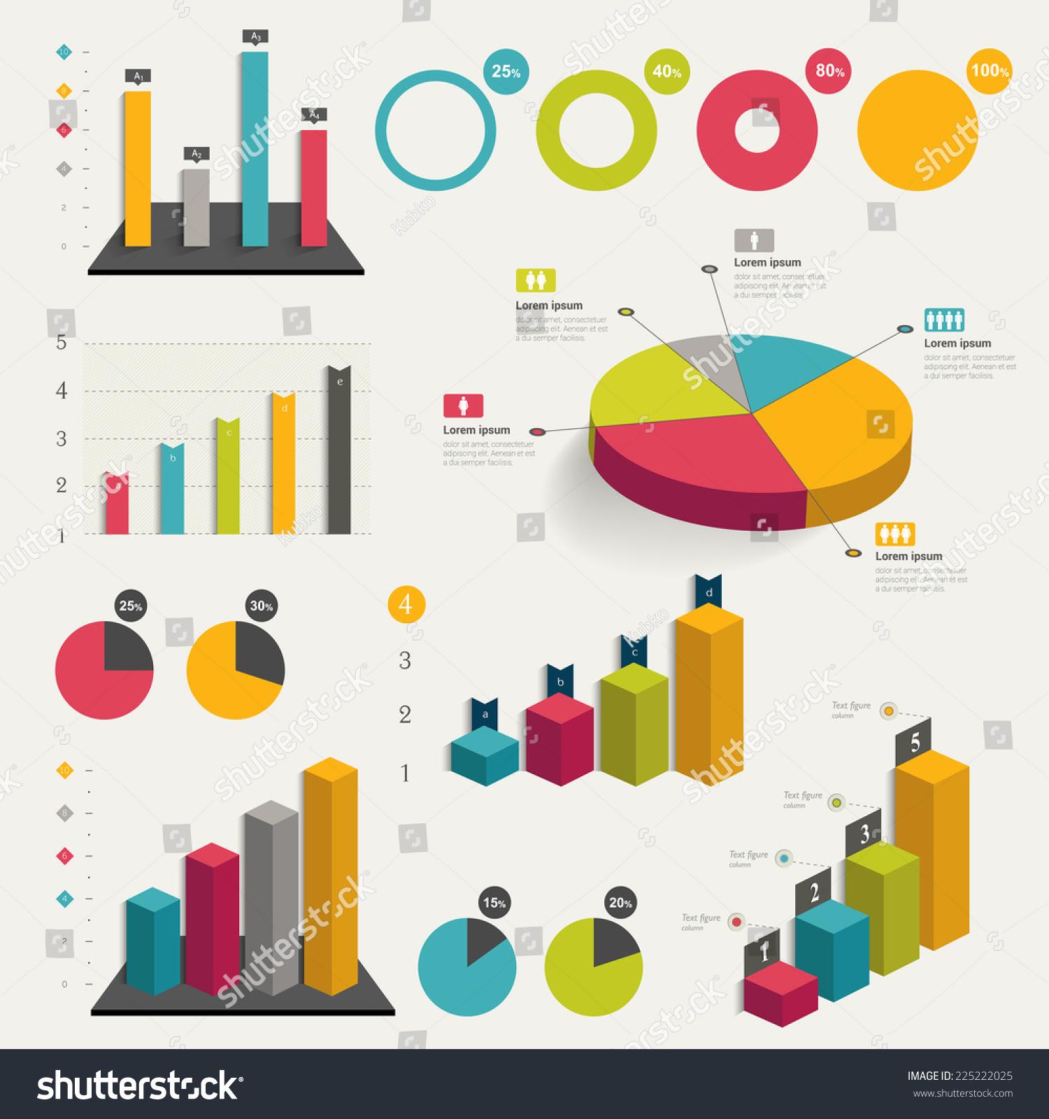 stock vector set of business flat d design graph infographics charts 225222025