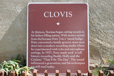 Clovis sign outside the Norman Petty Recording Studios, Clovis, New Mexico