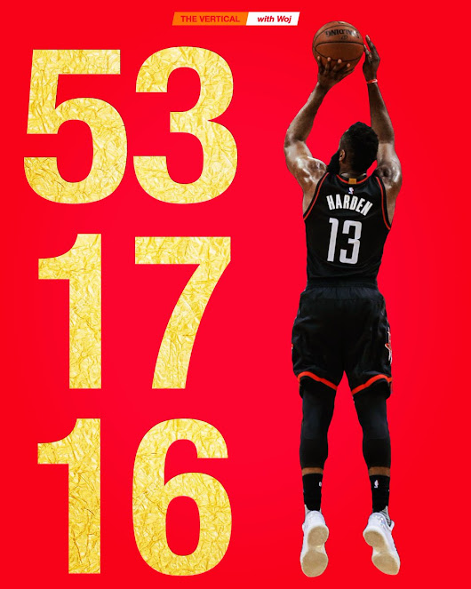 "The Vertical on Twitter: ""James Harden scores a career-high 53 points and adds 17 assists and 16 rebounds for the first 50-15-15 triple-double in NBA history. """