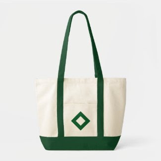 White and Green Diamond Pattern Tote Bag