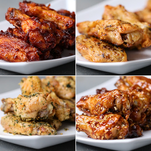 Oven-Baked Chicken Wings 4 Ways by Tasty