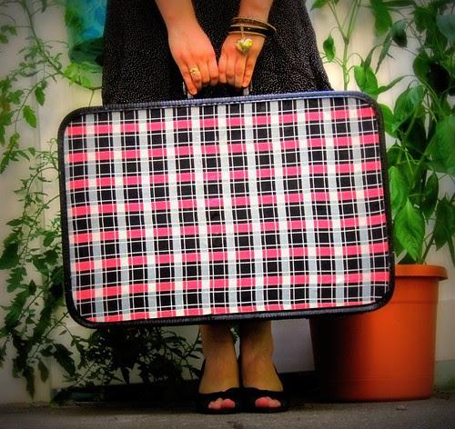 Pink Plaid Suitcase