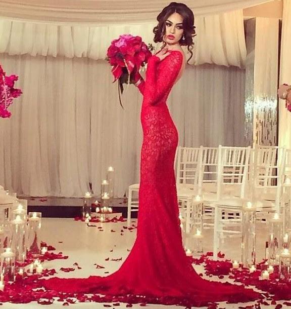 Red dress evening wedding