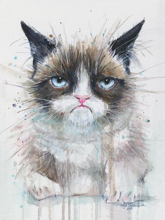 Grumpy Cat Watercolor Painting Painting by Olga Shvartsur