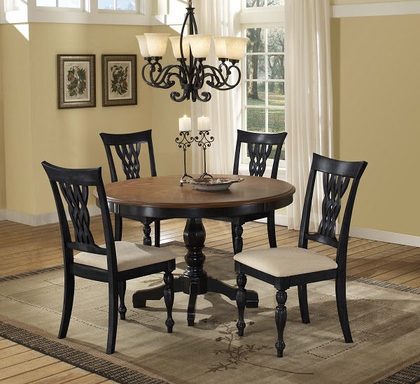 Embassy Five Piece Dining Set (Rubbed Black & Cherry ...