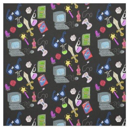 Nerdy Geeky Essentials Cartoon Illustration Fabric