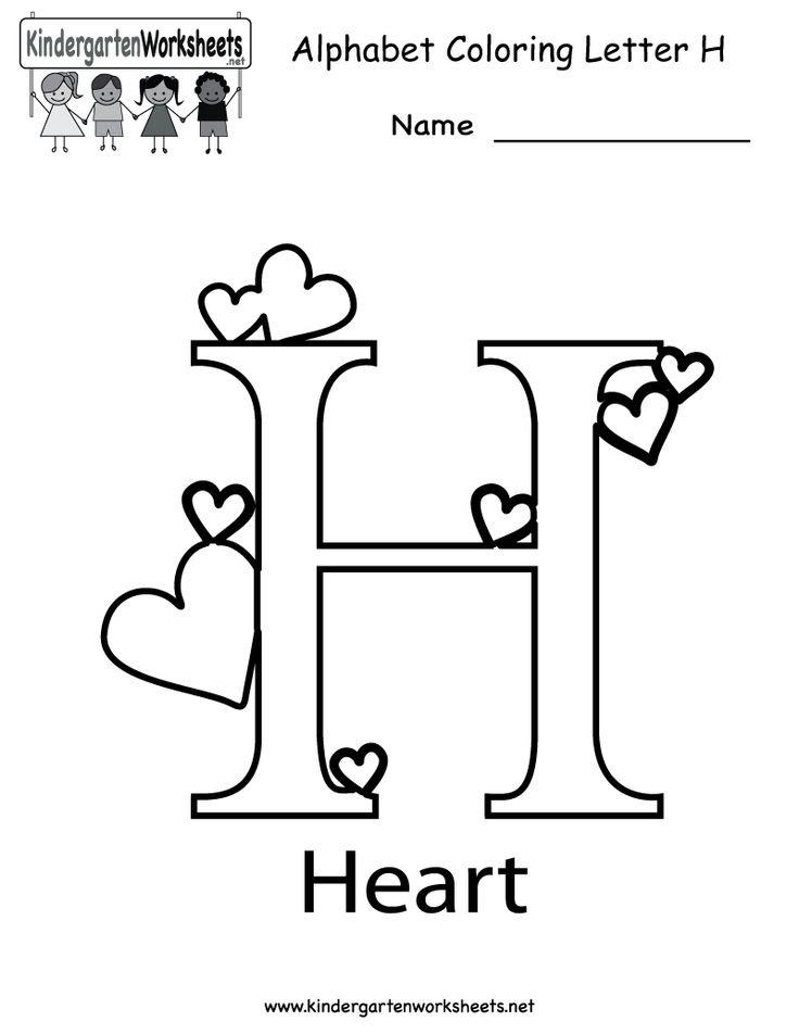 Kindergarten Letter H Coloring Worksheet Printable