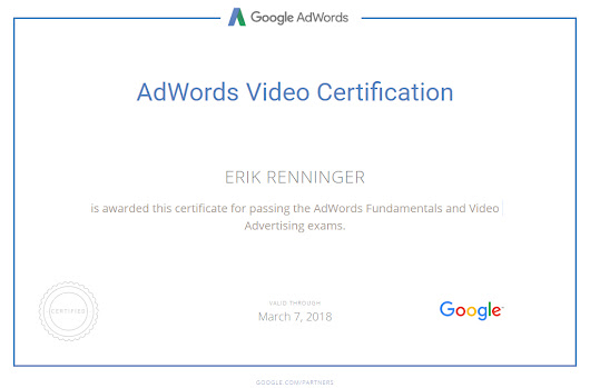 The WebMaster E is officially AdWords Certified and Joins Google Partners