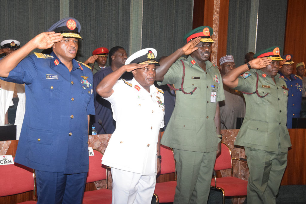 L-R; Chief of Air Staff; Air Marshal Sadique Abubakar; Chief of Naval Staff; Vice Marshal Ibok-Ete Ekwe Ibas; Chief of Army Staff; Lt. General Tukur Yusufu Buratai and Chief of Defence Staff; General Abayomi Gabriel Olonisakin; during the decoration Ceremony, by the President Mhammadu Buhari at the Presidential Villa Abuja yesterday