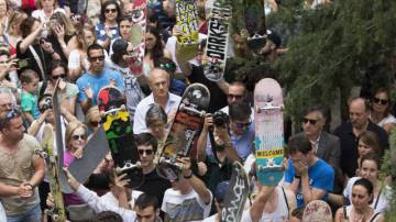 People pay homage to Echeverría in Madrid on Thursday.