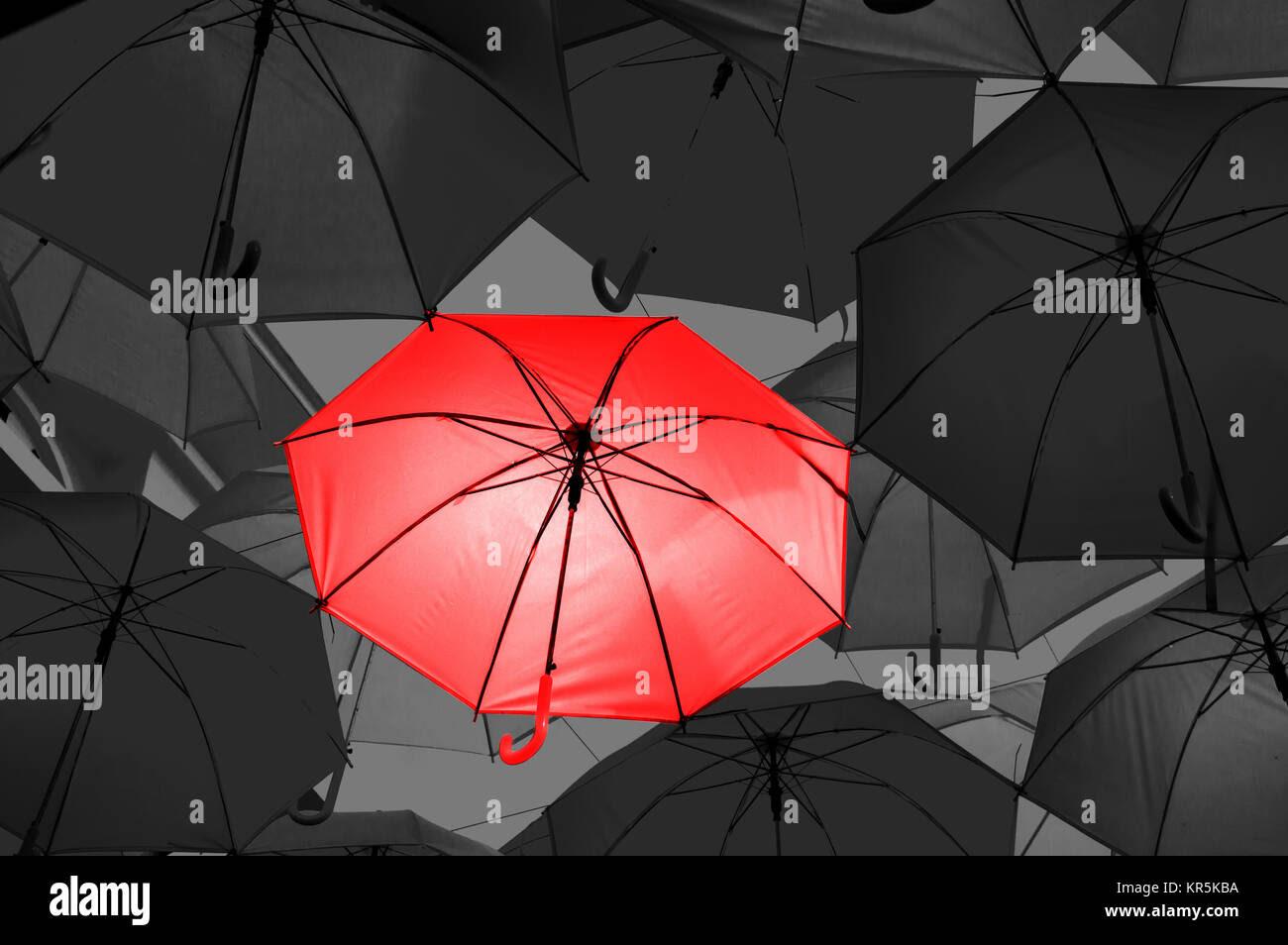 Red Umbrella In Black And White Umbrellas Stock Photo 169155374 Alamy
