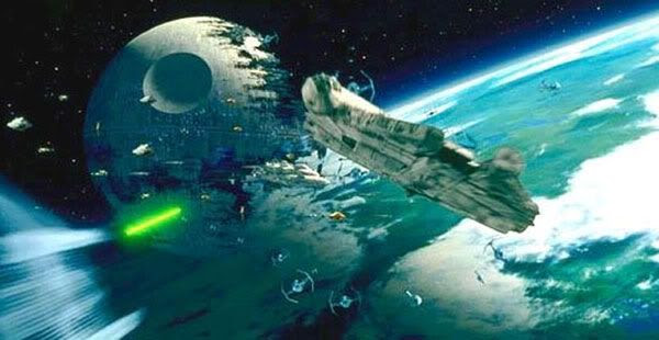 The space battle above Endor.