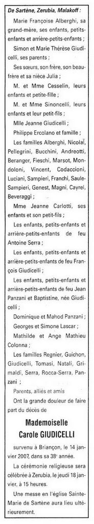 notice décès Carole Giudicelli 14 janvier 2007