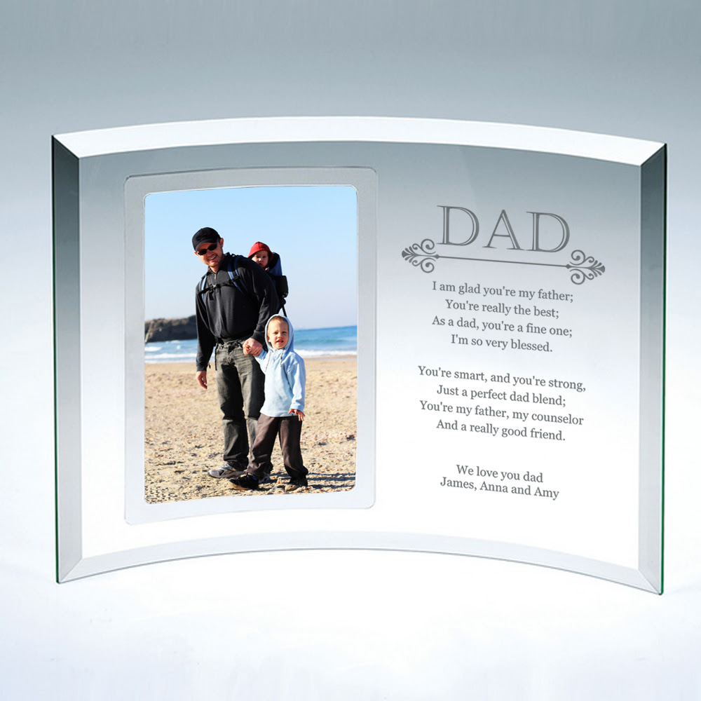 4x6 Curved Glass Personalized Picture Frame For Dad
