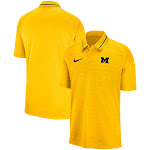 Michigan Wolverines Nike Stripe Performance Raglan Polo - Maize