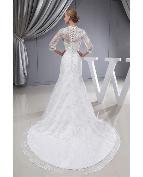 3/4 Lace Sleeves Fitted Mermaid Long Wedding Dress Corset