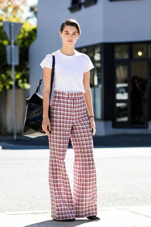 Le Fashion Blog Street Style White Tee Tucked Into Red Plaid Wide Leg Pants Black Pointed Toe Heels Via Vogue Paris