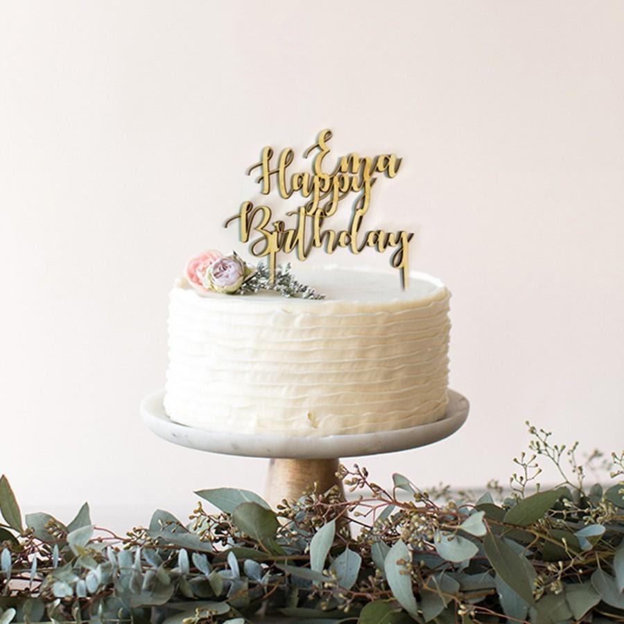 Custom Cake Topper Wooden Happy Birthday Cake Topper Script Cake Topper Cake Topper Cake Decorations Birthday Party Birthday Decoration 2956363 Weddbook