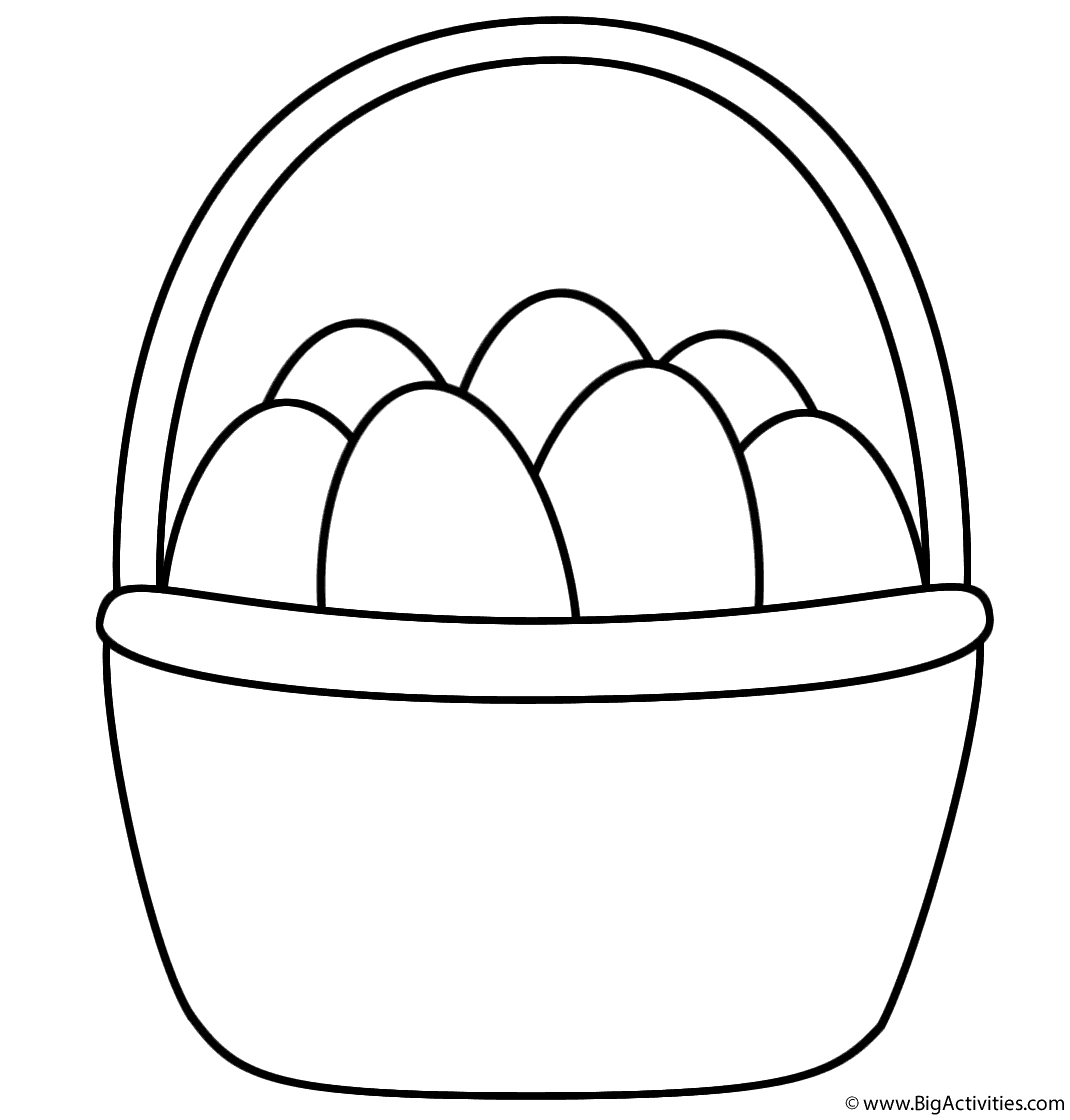 Easter Basket with Eggs - Coloring Page (Easter)