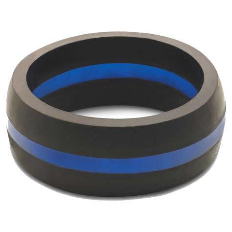 Qalo Men's Thin Blue Line Silicone Wedding Ring