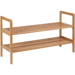 Honey-Can-Do 2-Tier Bamboo Shoe Storage Rack, Brown