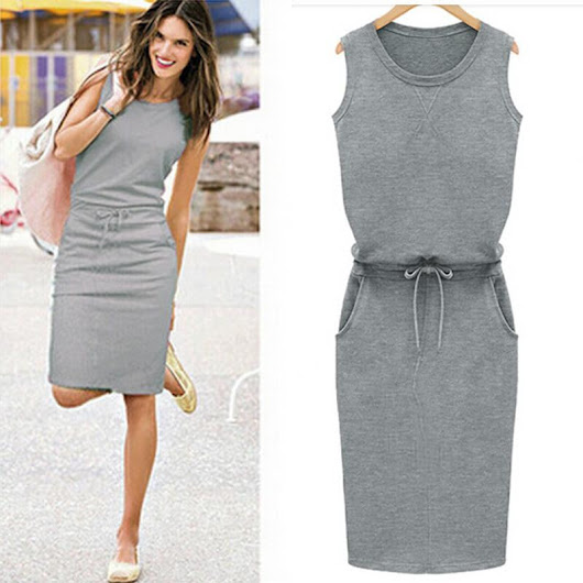 Women Summer Dress Sleeveless Vestidos Slim Sexy Pencil Casual Dresses With Belt