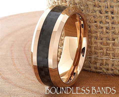 tungsten rose gold wedding band polished beveled edges mm