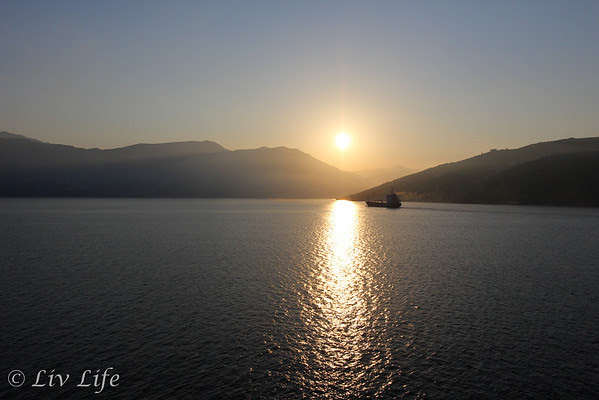 Entering the Bay of Kotor at sunrise in August 2012