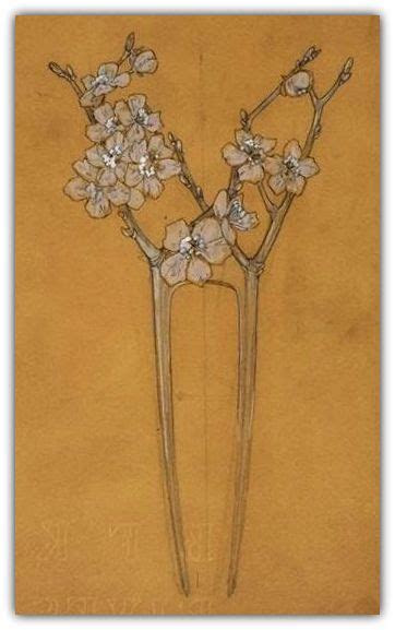 rene lalique drawing   comb  flowers   tree