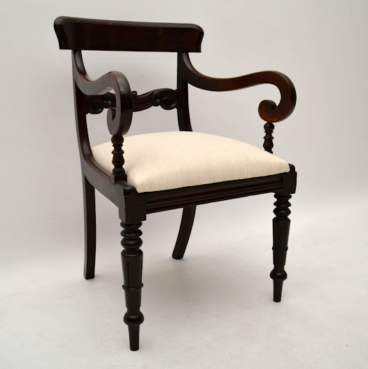 Antique William IV Mahogany Armchair or Desk Chair
