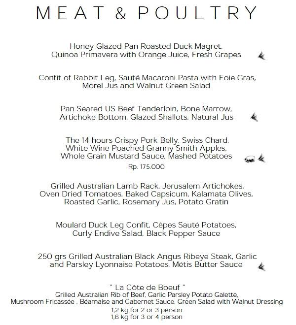 Metis Bali Restaurant Review - Meat & Poultry Menu