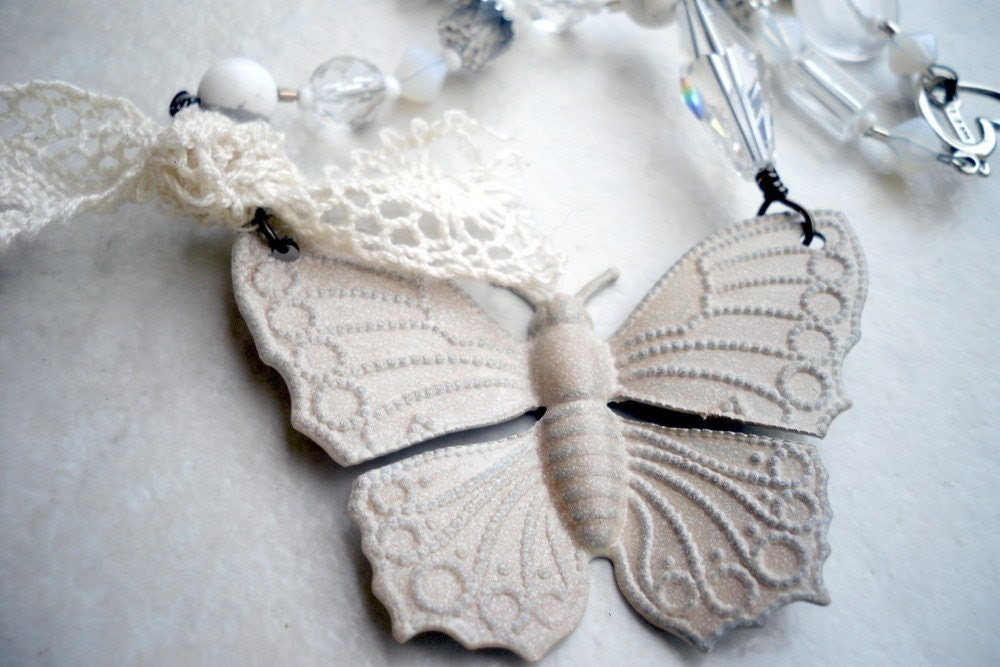 Repurposed Mixed Media Creme Metal Butterfly Necklace - Free US Shipping