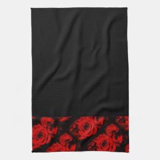 Red Rose Trim on Black Hand or Kitchen Towel