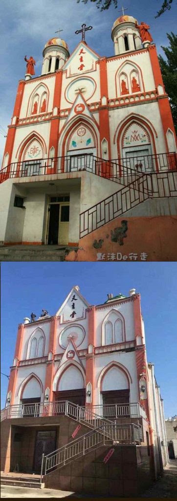 Profanada pelo comunismo, a Igreja de Xinjiang teve sua cruz arrancada