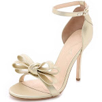 Girl's Isa Tapia Shelby Bow Open-Toe Stiletto Heels Sandals