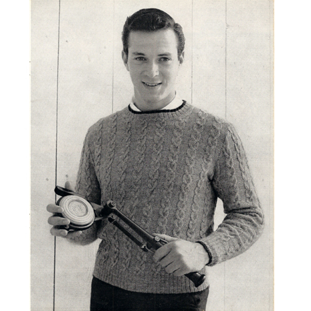 Knitted Cable Sweater Pattern for Men