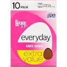 L'eggs Everyday Knee Highs, One Size, Suntan, Reinforced Toe - 10 pair