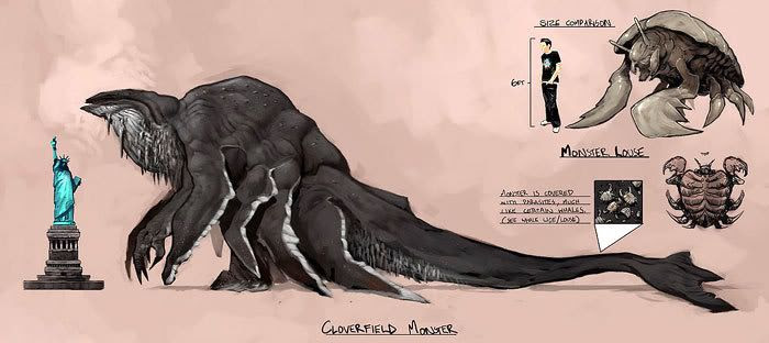 Concept art depicting the CLOVERFIELD creature and its tick-like 'Monster Louse'.