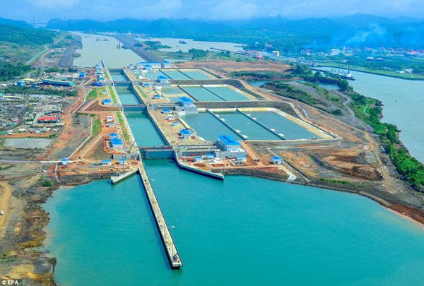 An aerial view of the new set of locks at the Panama Canal.