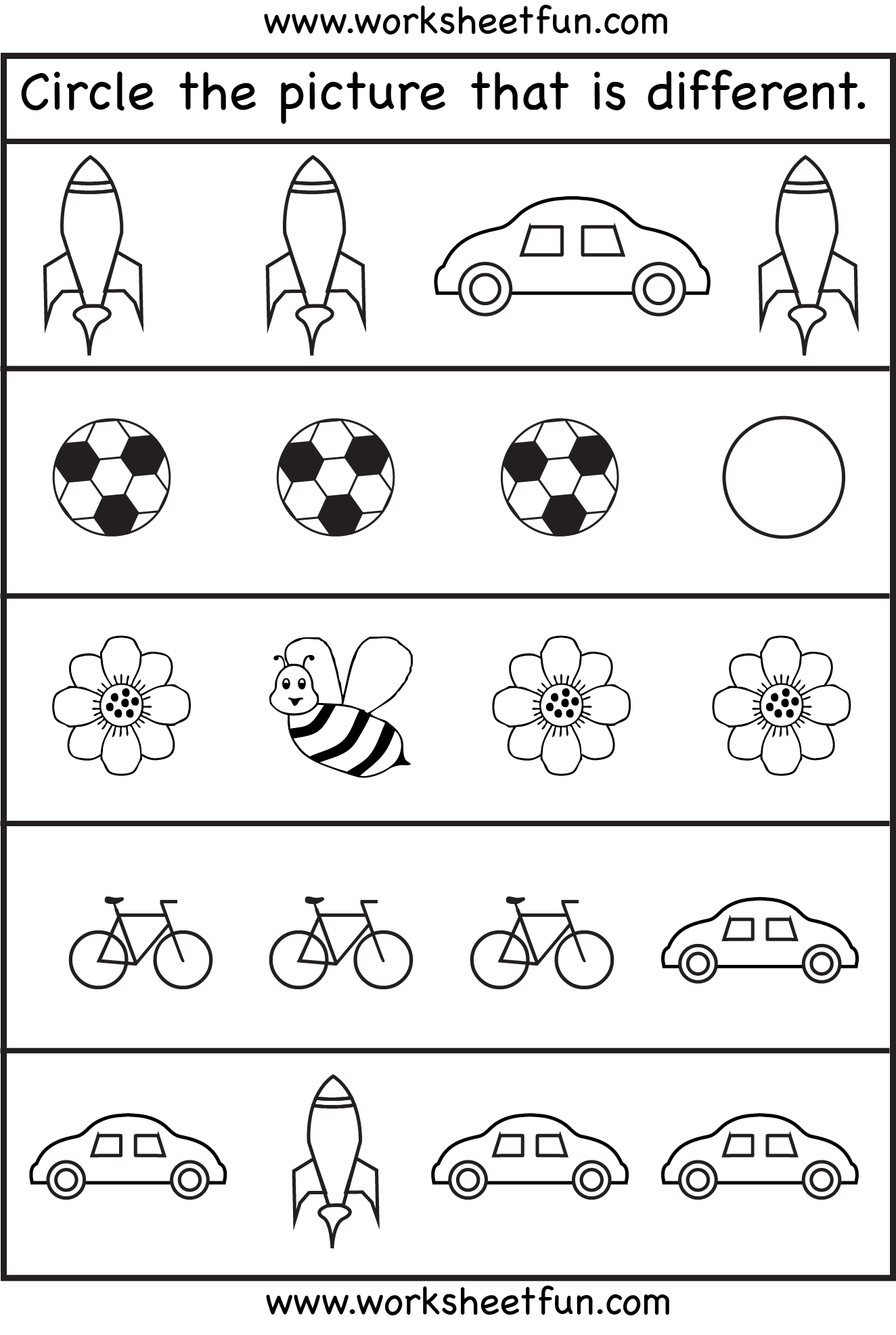 Circle the picture that is different – 1 Worksheet \/ FREE Printable Worksheets – Worksheetfun
