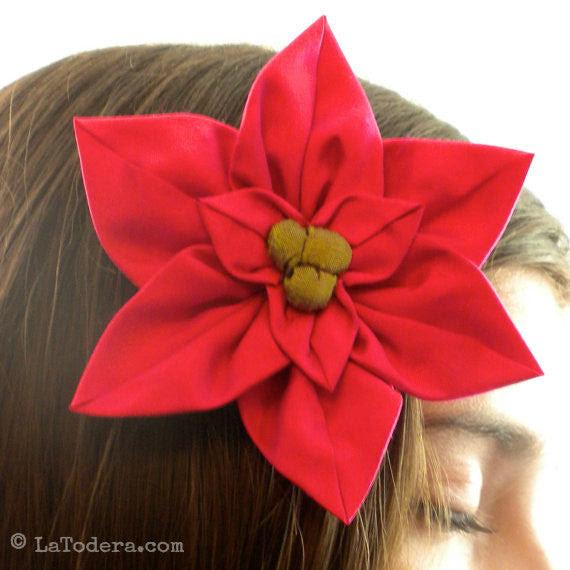 Diy Fabric Flower Poinsettia Brooch Tutorial Pdf Sewing Pattern La Todera