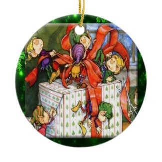 Merry Elves Wrapping Present Ornament ornament