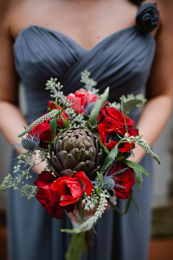 reds, greens, and dusty blues in a wedding palette - kaitie bryant photography