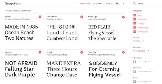 Google Fonts Gets a Redesign – WordPress Tavern