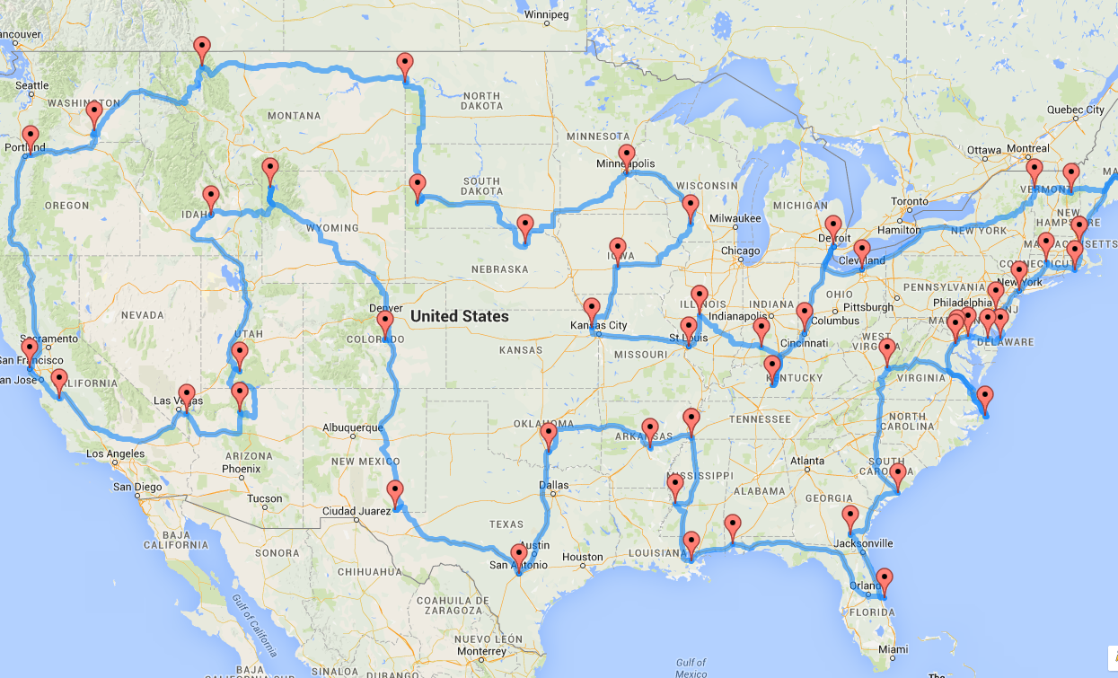 Randy Olson's algorithm devised the optimal driving route to 50 tourist spots in the Lower 48 states.